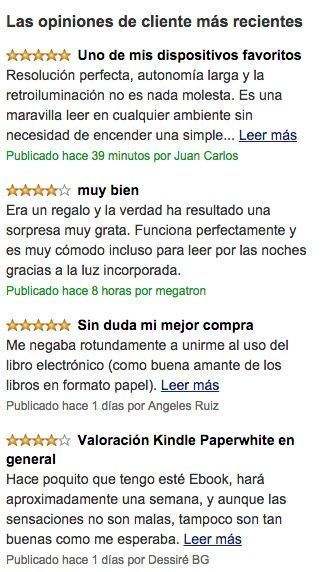Opiniones Kindle Paperwhite