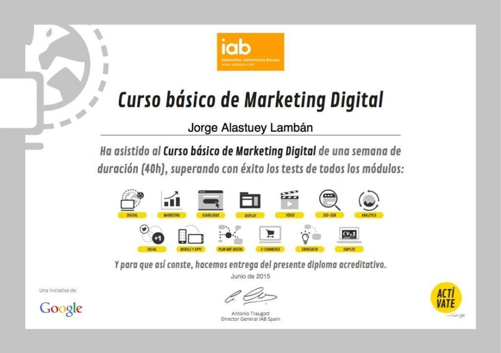 Certificado Curso basico de Marketing Digital Google Activate - IABS