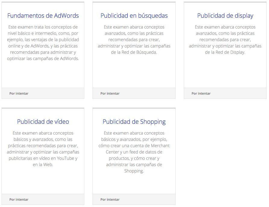 Certificaciones Google AdWords